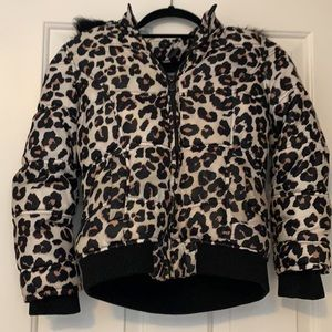 Justice cheetah printed coat